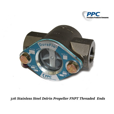 Stainless Steel Sight Flow Indicator w/ double window,Delrin Propeller