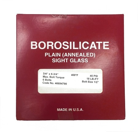 "6-3/4"" OD X 3/4"" Thickness Borosilicate Plain (Annealed) Sight Glass"