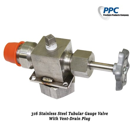 Tubular Gauge Valve With Vent-Drain Plug