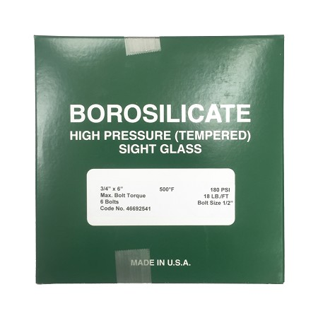 "6-3/4"" OD X 3/4"" Thickness Borosilicate High Pressure (Tempered) Sight Glass"